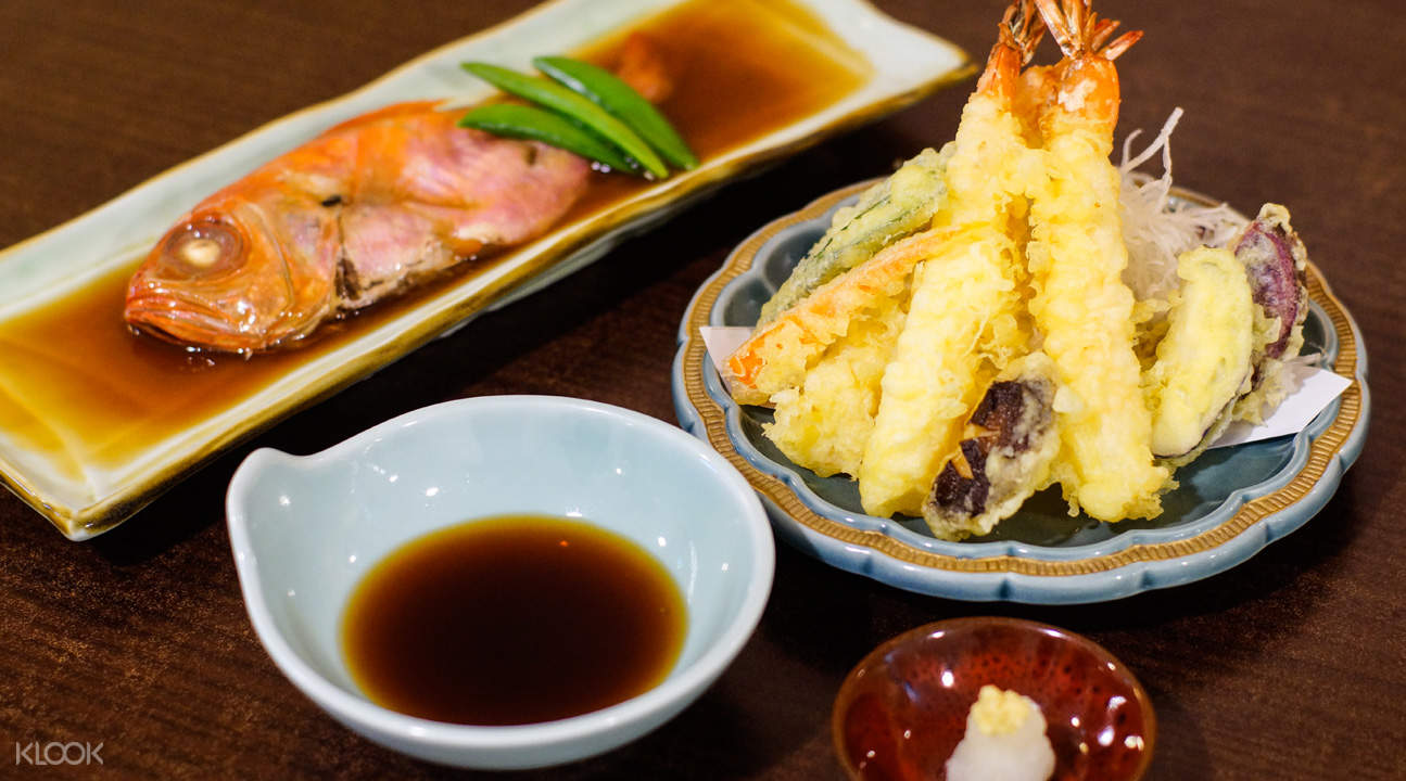 Grilled Fish and Fried Ebi and Vegetable Tempura at Kan Sushi in Tanjong Pagar